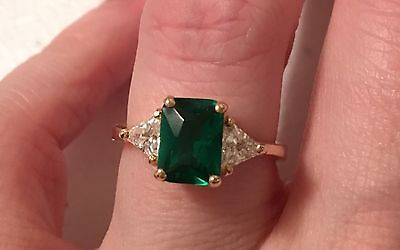 Emerald Solitaire Cz Fashion Costume Ring Yellow Gold Size 7 8  Free Shipping