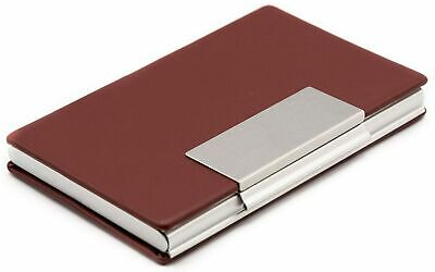 Slim Genuine Brown Vegan Leather Business Card Holder