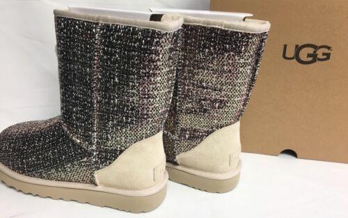 UGG Australia BRONZE CLASSIC SHORT FRILL TWEED SUEDE SHEEPWOOL BOOTS 1019182