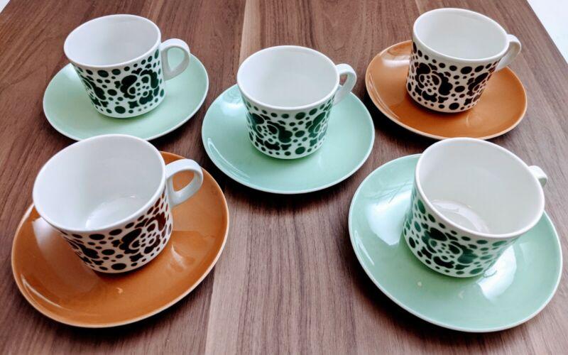 Beautiful Set of 5 Mid Century Modern McM Tea Cups & Saucers ARABIA OF FINLAND