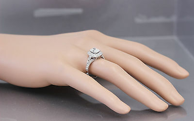GIA G-SI1 14K WHITE GOLD CUSHION CUT DIAMOND ENGAGEMENT RING DECO 1.70CTW 8