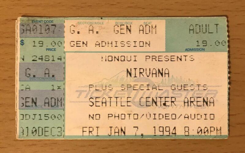 1994 NIRVANA SEATTLE CONCERT TICKET STUB KURT COBAIN IN UTERO NEVERMIND BLEACH