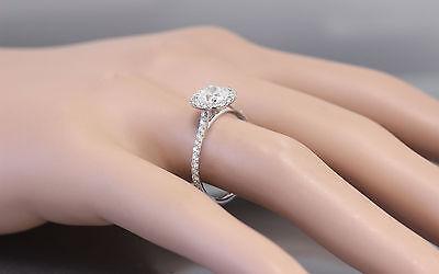 GIA H-SI1 14k White Gold Cushion Cut Diamond Engagement Ring Halo Deco 1.20ctw 1