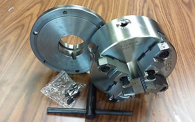 8 4-jaw Self-centering Lathe Chuck Topbottom Jaws W. L0 Adapter Plate-new