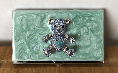 Vintage Teddy Bear Enamel Business Card Holder