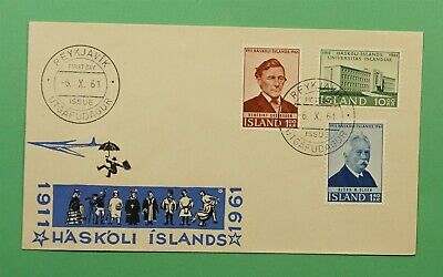 DR WHO 1961 ICELAND FDC 50TH ANNIV UNIVERSITY OF ICELAND  C241655