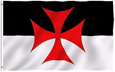 - ANLEY Templar Knights Battle Flag 3 x 5 ft Crusader Catholic Banner Polyester