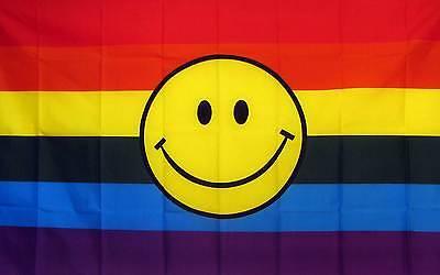 RAINBOW Smiley FACE GAY FLAG 3' X 5'