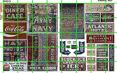 NH013 DAVE'S DECALS 1/2 Set N SCALE GHOST SIGNS CAFE ARMY NAVY HOTEL LOANS MORE