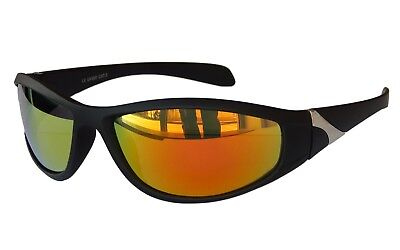 SPORTBRILLE Sonnenbrille Schwarz Rot Gold Fire verspiegelt Brille Radbrille M 23