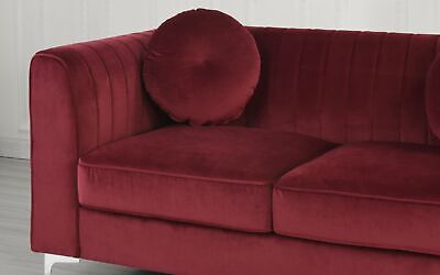 Red Contemporary Plush Velvet Living Room Loveseat With Two Round Accent (Contemporary Living Room Loveseat)