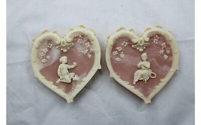 Heart Incolay Stone Wall Hanging Sculpture Old Time Boy Girl 4.5