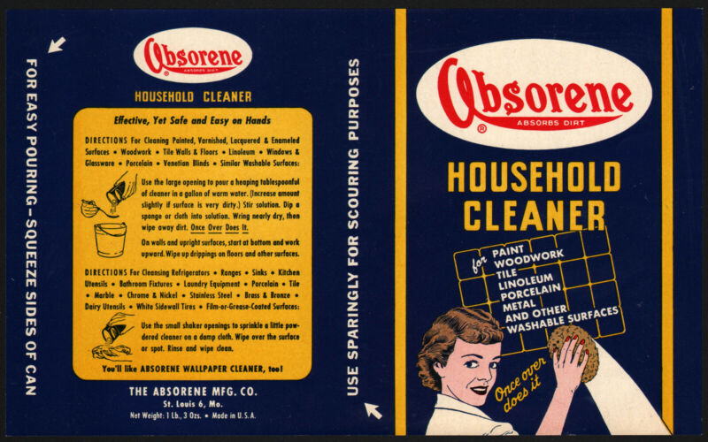 Vintage label ABSORENE HOUSEHOLD CLEANER woman cleaning pic St Louis MO unused