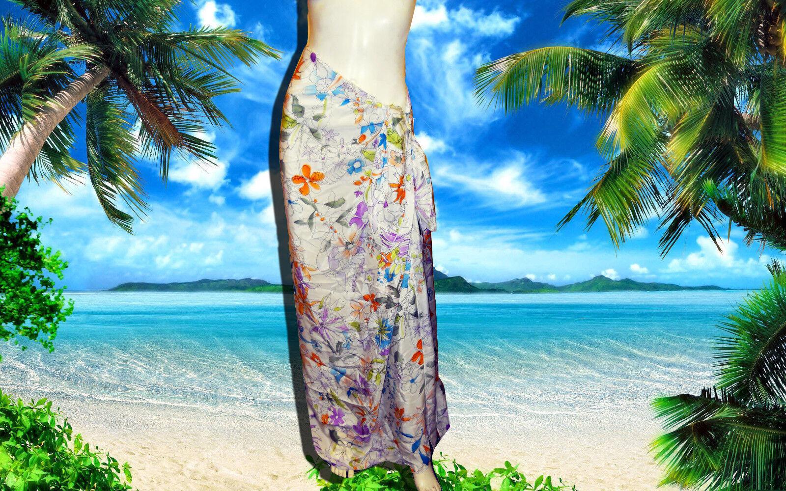 Gottex 100% Silk Floral Design Sarong Wrap Cover-up Dress...