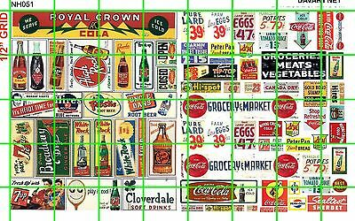 NH051 DAVE'S DECALS 1/2 Set N SCALE MIXED ASSORTED SODA GROCERY HEADER WINDOW