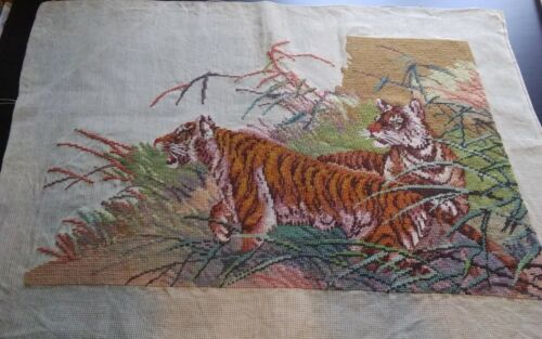 """Vintage pair jungle tigers counted needlepoint  29x21"""" 75% completed BEAUTIFUL!!"""