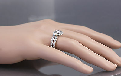 GIA H-VS2 18K White Gold Round Cut Diamond Engagement Ring and Band Bezel 1.55ct 2