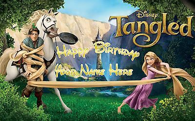 Birthday banner Personalized 4ft x 2 ft  Tangled, Disney, Rapunzel, - Party Supplies Eugene