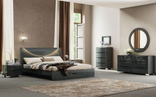 Nola - KING & QUEEN SIZE MODERN GREY GLOSSY BEDROOM SET 5 PCS