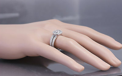 GIA H-VS2 18K White Gold Round Cut Diamond Engagement Ring and Band Bezel 1.55ct 1