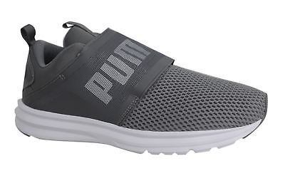 Puma Enzo Lace Up Strap Up Mens Grey White Textile Trainers 190024 04 M15