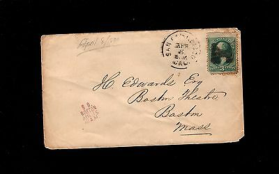 Banknote San Francisco 1870 Fancy Cancel Auxiliary Boston Theatre J Edwards  7P