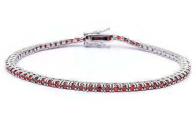"""2.25CT Simulated Red Garnet Tennis Bracelet .925 Sterling Silver Bracelet 7 1/4"""""""
