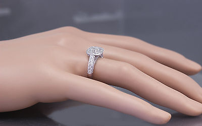 GIA D-SI1 14k White Gold Cushion Cut Diamond Engagement Ring Bezel Deco 1.70ctw 10