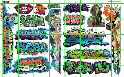 NH118 DAVE'S DECALS - BOXCAR BUILDING MODERN GRAFFITI GIRLS LIPS TAGS and MORE