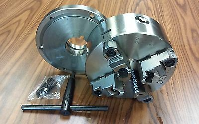 8 4-jaw Self-centering Lathe Chuck Topbottom Jaws W. L00 Adapter Plate-new