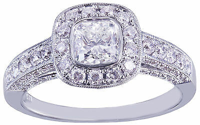 GIA D-SI1 14k White Gold Cushion Cut Diamond Engagement Ring Bezel Deco 1.70ctw 6
