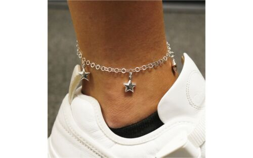 """Italian 925 Solid Sterling Silver Puffed Star Charm Anklet 10"""" For Women"""
