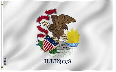 Anley Fly Breeze| 3x5 Foot Illinois State Flag,Polyester with Brass Grommets Illinois State Polyester Flag