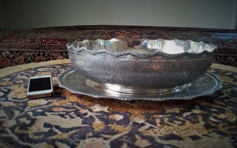 GIGANTIC AND MASSIVE ANTIQUE SOLID SILVER SET OF  PERSHIAN ISPHAHAN BOWL & TRAY