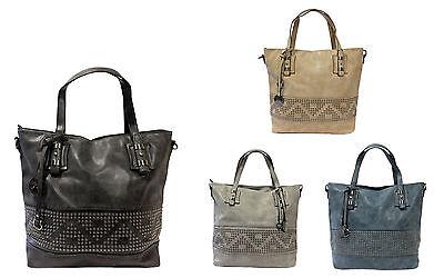 Blaue Nieten-handtasche (Handtasche Shopper Tasche IN-Bag mit Nieten Schwarz, Blau, Grau oder Beige NEU)