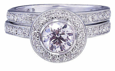 GIA H-VS2 18K White Gold Round Cut Diamond Engagement Ring and Band Bezel 1.55ct 11