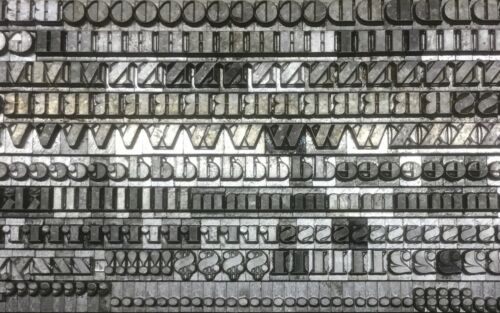 Modern Bodoni 12 point letterpress type caps Lower case Punctuation numbers old