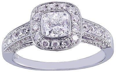 GIA D-SI1 14k White Gold Cushion Cut Diamond Engagement Ring Bezel Deco 1.70ctw