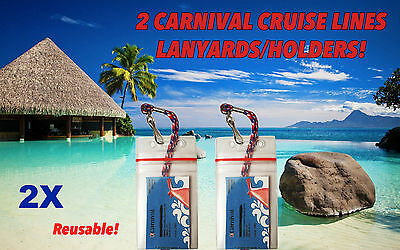 2 Carnival Cruise Lines I D Holders   Lanyards Zip Lock Seal Clear On Both Sides