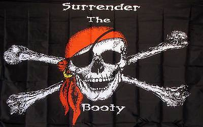 Surrender The Booty Black  Pirate 3x5 Flag Banner