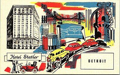 Artist Signed J Lubin Hotel Statler Detroit Michigan MI Vtg Advertising Postcard