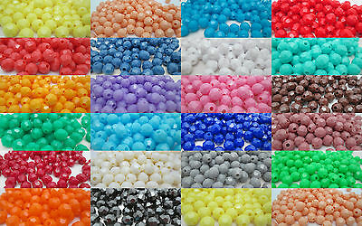 Plastic Beads (150 - 8mm Round Faceted Opaque Plastic Beads - Color)