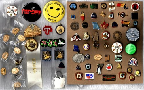 Vintage Mason Carpenters Union 74 Pins/Buttons/Tie Collection Freemasons Templar