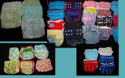 Newborn Small Medium cloth baby diapers Covers Soaker Pads lot of 36 for sale  Shipping to India