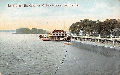"Portland Oregon~Boat Landing at ""The Oaks"" Club House~Willamette River~1908"
