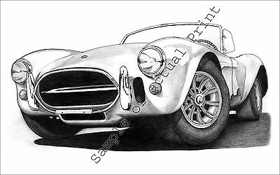 Beautiful 1967 Shelby 427 Cobra 11 x 17 drawing picture print