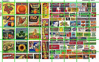 NH071 1/2 Set N SCALE MID CENTURY SIGNS FRUIT SIGNS MIXED OTHERS DAVE'S DECALS