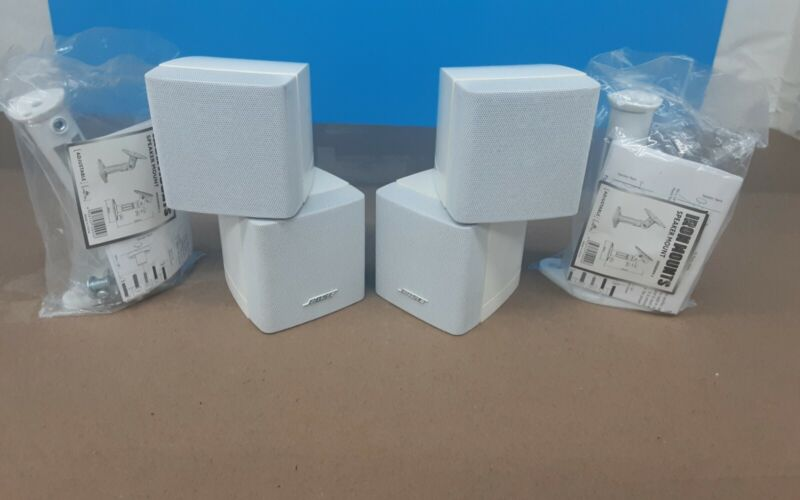 Bose Double Cube Speakers Lifestyle/Acoustimass, White Pair w Wall Mounts