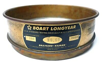 8 Brass Sieve Lab Soil Test 2 Height No. 60 Mesh Boart Longyear Made In Usa