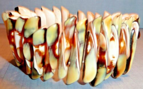 Shell Stretch Cuff Fashion BRACELET, Shades of Brown/Ivory/Green